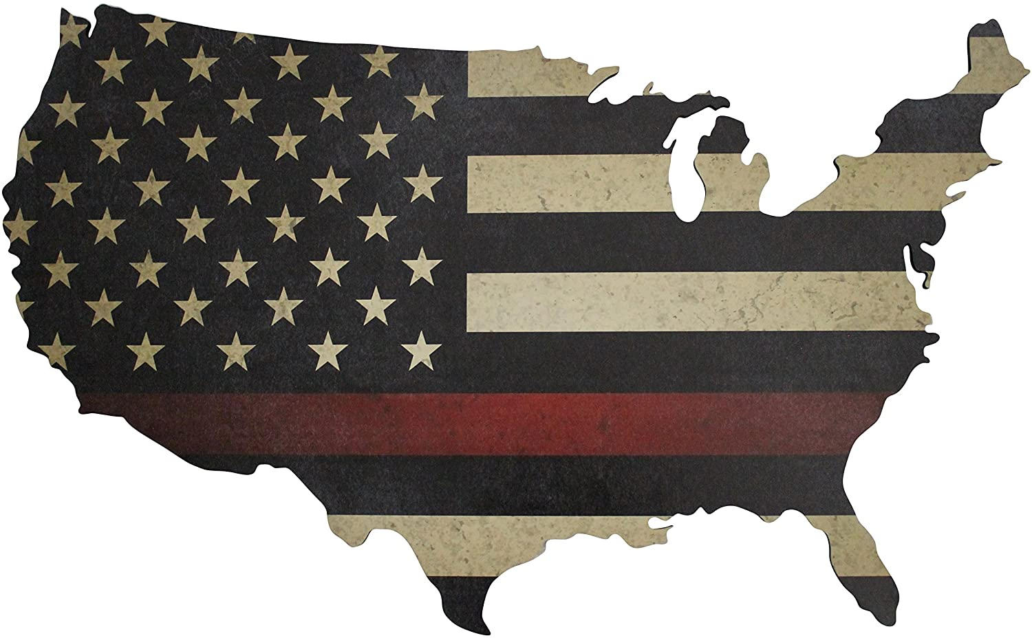 """Thin Red Line American Flag Wall Art Large 36"""" x 22"""" Laser Cut Wood Map with Distressed Vintage US Flag Print"""