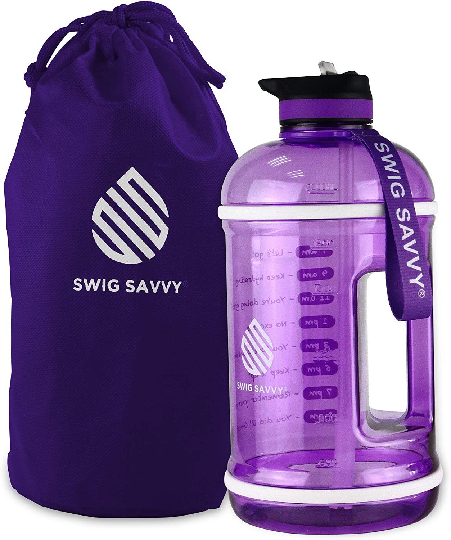 Swig Savvy Motivational Water Bottle, Water Tracker Bottle with Straw, Easy-take-Along Water Bottle with Time Marker, Leak Proof, BPA Free Plastic