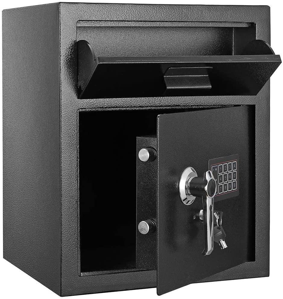 KepooMan Electronic Code Depository Security Safe Lock Box Digital Security Safe Pistol Vault Home Office Digital Security Safe Box Double Safety Key Lock, Black
