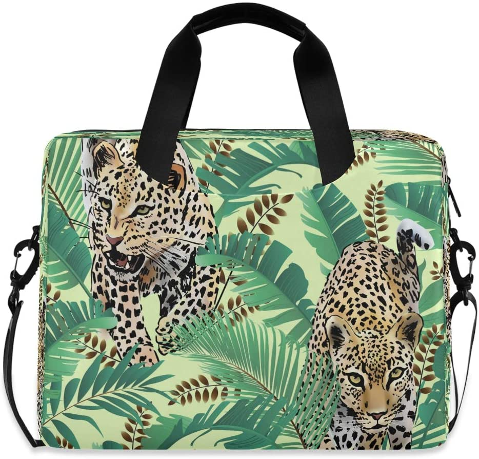 CCDMJ Laptop Case Tropical Leopard Palm Leaves Laptops Sleeve Shoulder Messenger Bag Briefcase Notebook Computer Tablet Bags with Strap Handle for Women Man Boys Girls 16 Inch