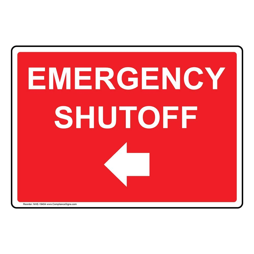 Emergency Shutoff (with Left Arrow) Label Decal, 7x5 inch Glow-in-Dark Vinyl for Emergency Response by ComplianceSigns