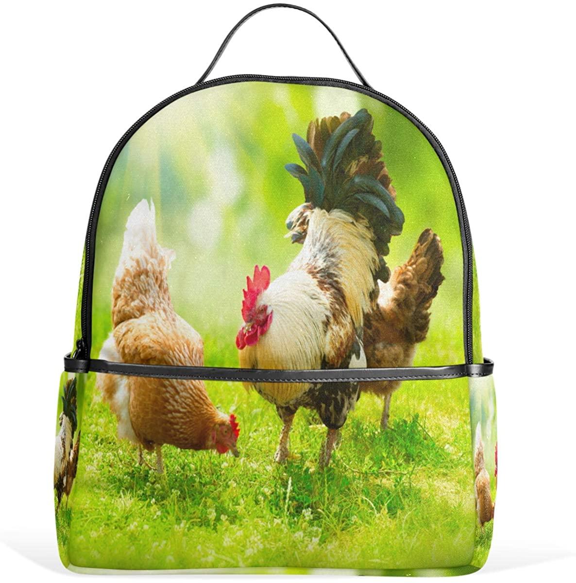 Olinyou Rooster Hens Farm Green Grass Cock Backpack School Book Bag Daypacks Shoulder Bags Rucksack for Boys Girls Students