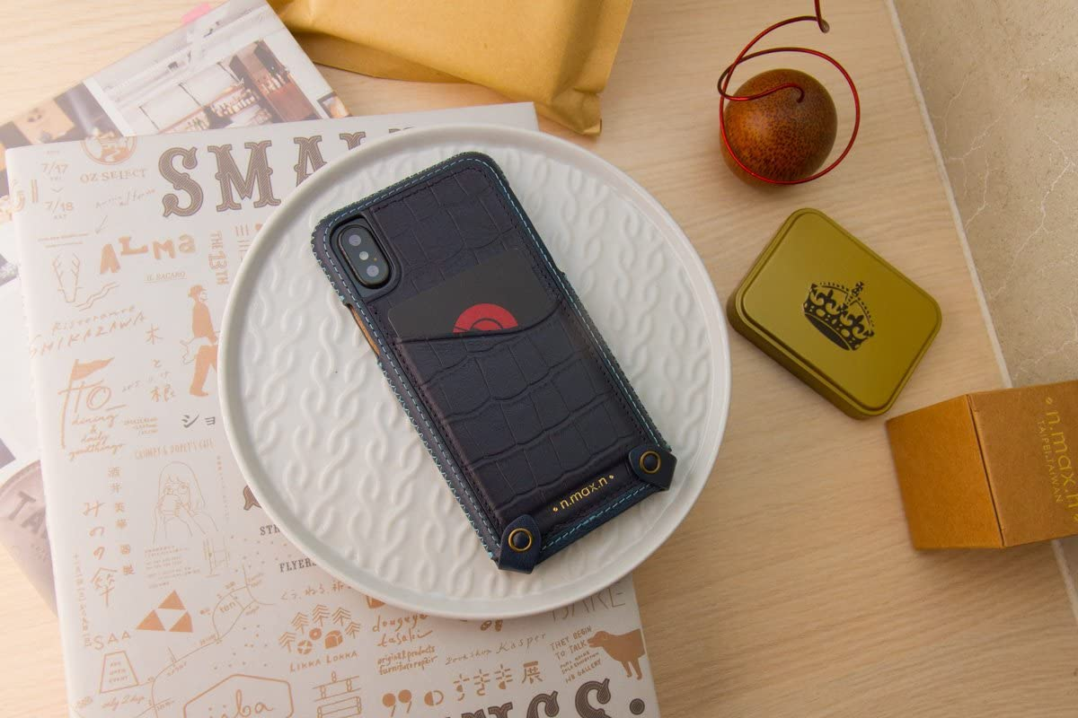 n.max.n Mix & Match Minimalist Series Genuine Croc Pattern Leather Phone Case Card Slot for Apple iPhone X - Navy Blue