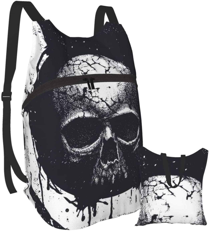 ACHOGI Black and White Skull Rainproof Ultralight Foldable Lightweight Packable Backpack
