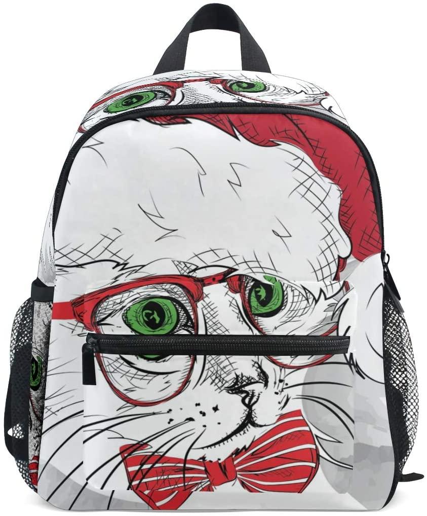 OREZI Toddler Backpack,Christmas Winter Cat Kitten Preschool Bag Travel Snack and Toy Bacpack Christmas Gift for Children