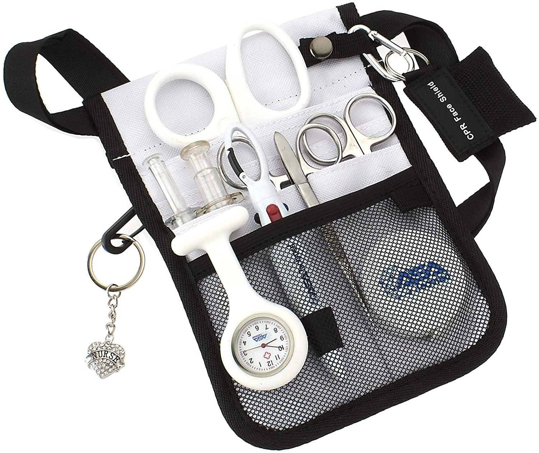 AsaTechmed Medical Belt Utility Kit, Nurse Pro Pack Pocket Organizer Pouch Hip Bag | Antimicrobial, EMT, CNA, NP, PA, Student, Nurse Kit (White)