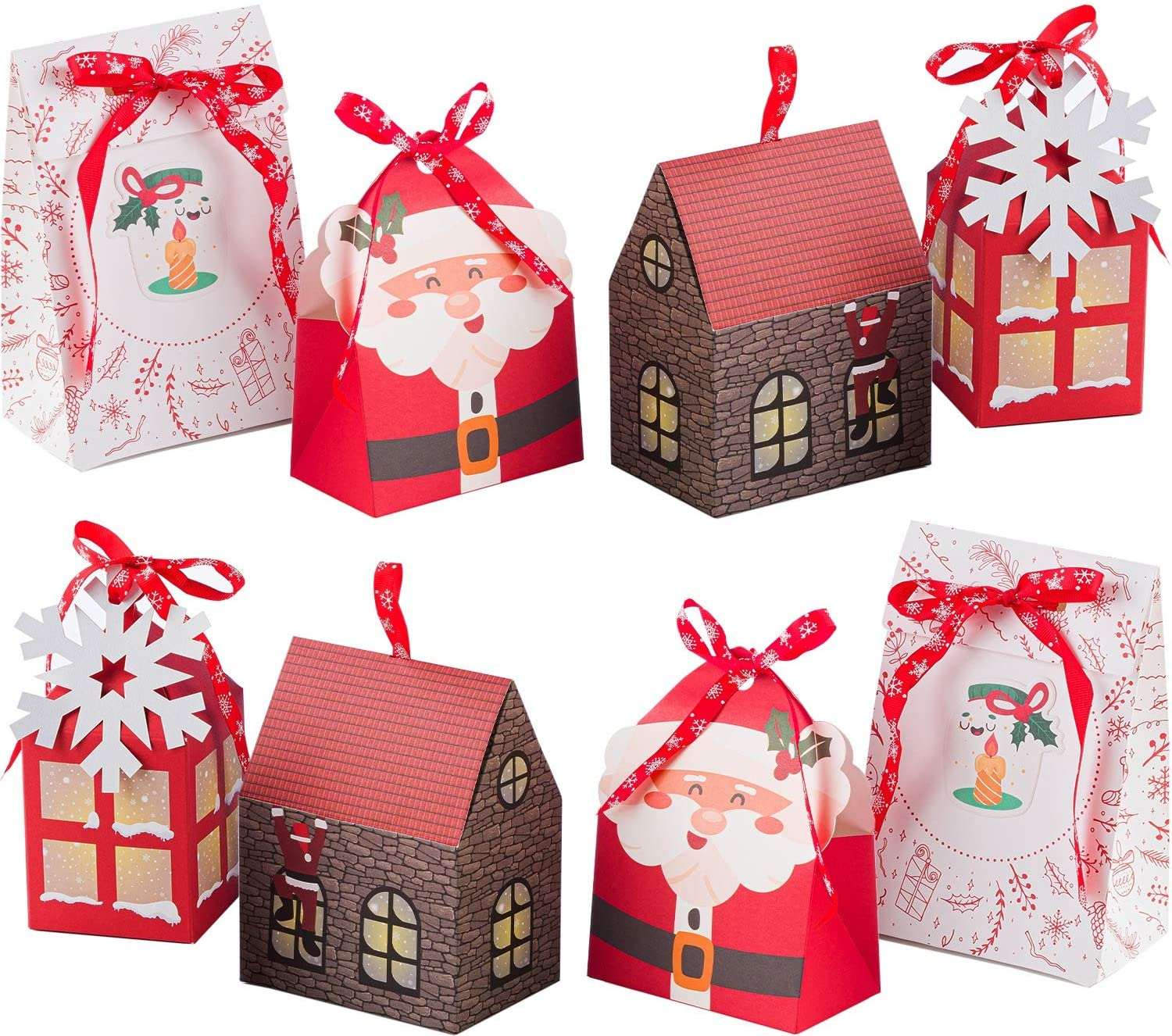 NIMU 12 Pieces Premium Christmas Gift Bag with Special Design Reusable Craft Paper Boxes Assorted Xmas Theme Designs