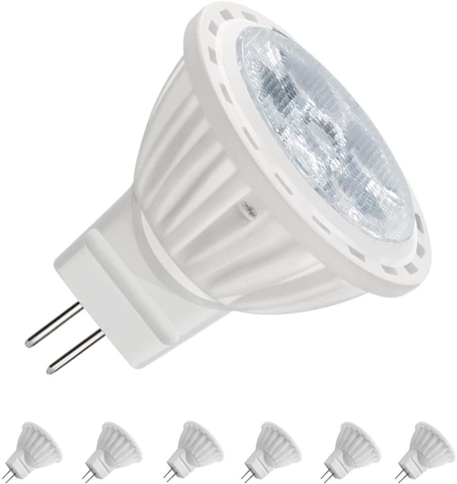 MR11 LED Bulbs, 120 Volt led Bulb, GU4 Base, 4W 400 Lumen (35W Halogen Bulbs Equivalent) Non-Dimmable,White Light 6000K, Pack of 6
