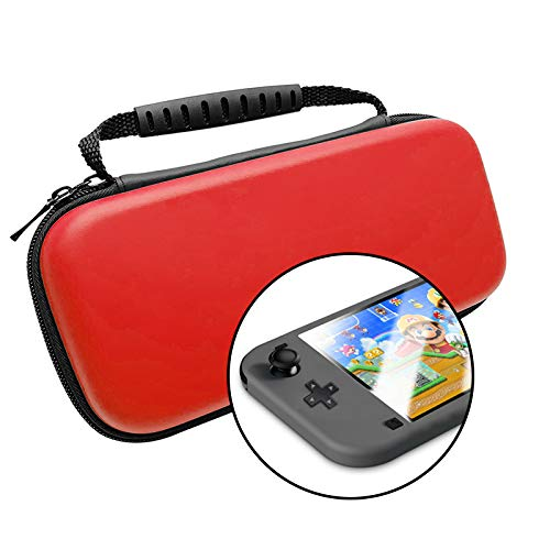 Sirius&Co Carrying Case for Nintendo Switch Lite with a Screen Protector (Red)