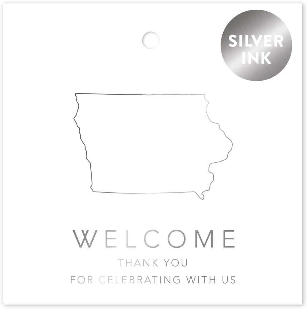 Andaz Press OOT Out of Town Wedding Gift Favor Bag Tags, 2-inch Square, Metallic Silver Ink, Iowa, Welcome, Thank You for Celebrating with US, 24-Pack