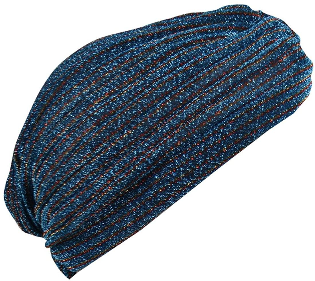 Striped Tinsel Turban Twist Pleated Hair Wrap Stretch Turban Womens Head Cover