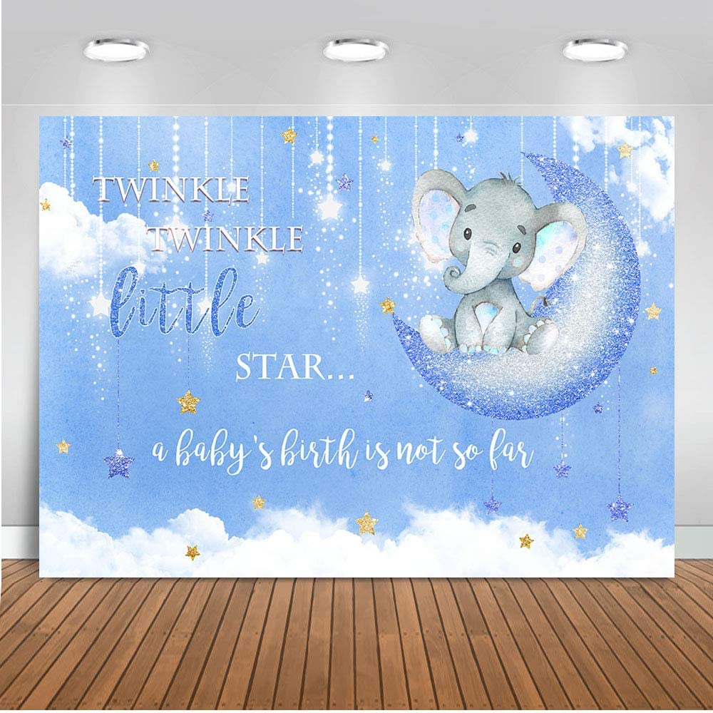 Mocsicka Baby Boy Elephant Party Supplies Decorations Backdrop 5x3ft Twinkle Twinkle Stars Elephant Gender Reveal Photo Backdrops Elephant Baby Shower Photography Background
