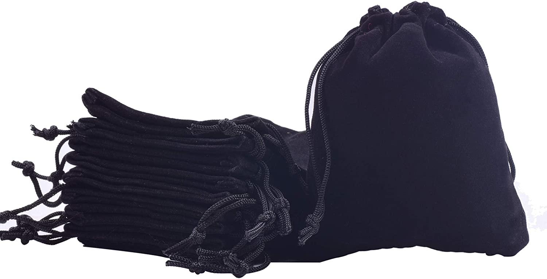 Sansam 50pcs Black Drawstrings Velvet Bags for Jewelry, Gift, Wedding Favors, Candy Bags, Party Favors, 4.0x4.8''