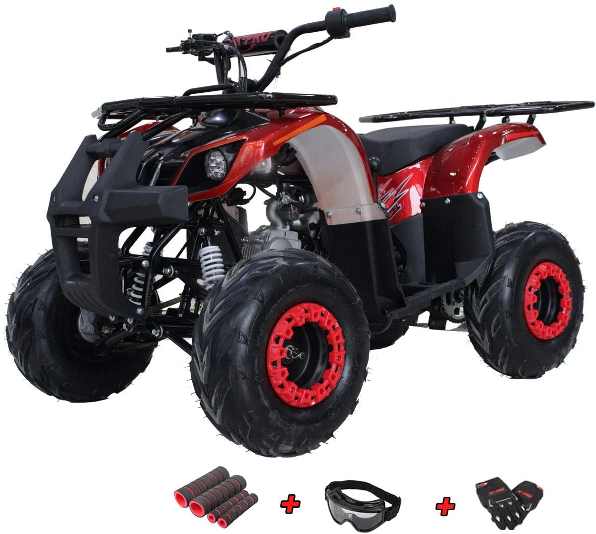 X-PRO Eagle 125 ATV Quad Youth 4 Wheeler ATVs Kid Size ATV 4 Wheelers 125cc Big Boys ATVs Quads with Gloves, Goggle and Handgrip(Burgundy)