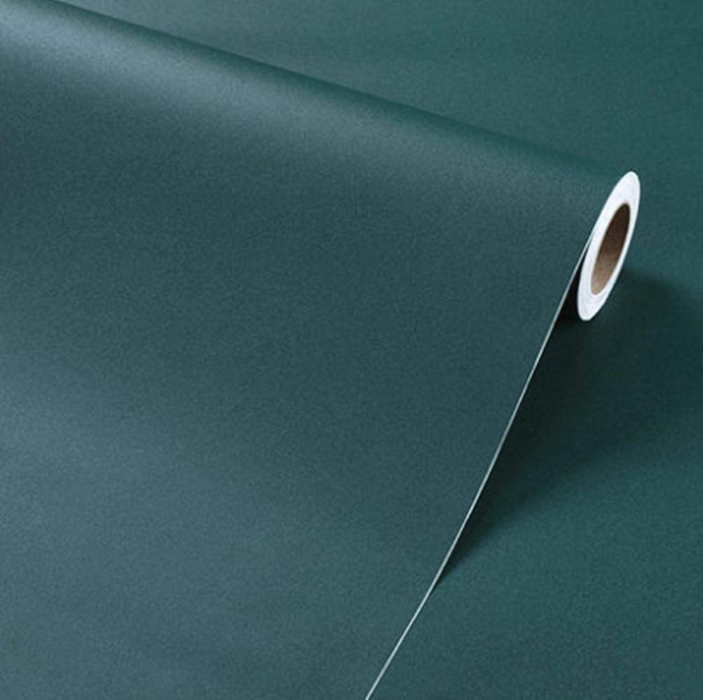 Amao Dark Green Modern Wallpaper Peel and Stick Paper for Shelf Liner Wall Decor Livingroom Background 15.7''x79''