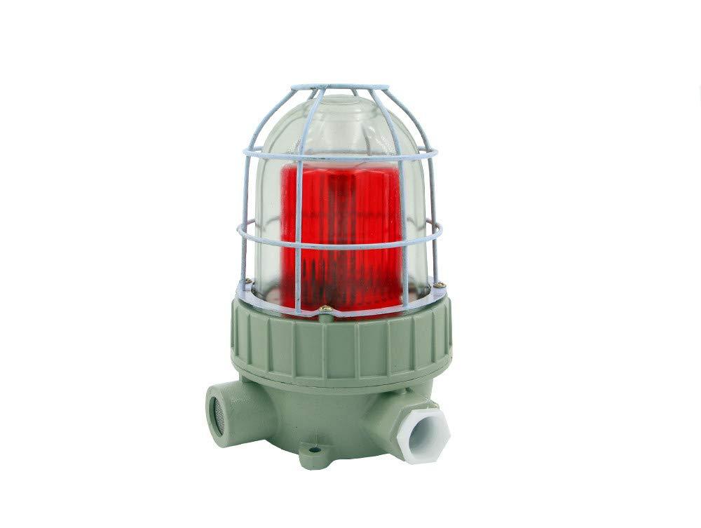 Saladulce Industrial LED Warning Light Explosion Proof Rotating Light Bulb Siren 110dB IP65 Fire Safe Flashing Strobe Light Red for CNC Workshop Mine Underground Tunnel (380V)