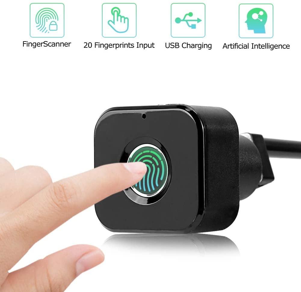 Mini Fingerprint Lock for Drawer Cabinet,Smart Electric Anti Theft Safe Security Fingerprint Door Lock USB Charging