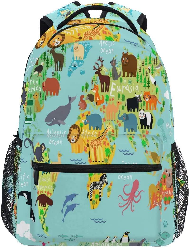 Ombra Backpack Animal World Map Educational School Shoulder Bag Large Waterproof Durable Bookbag Laptop Daypack for Students Kids Teens Girls Boys Elementary
