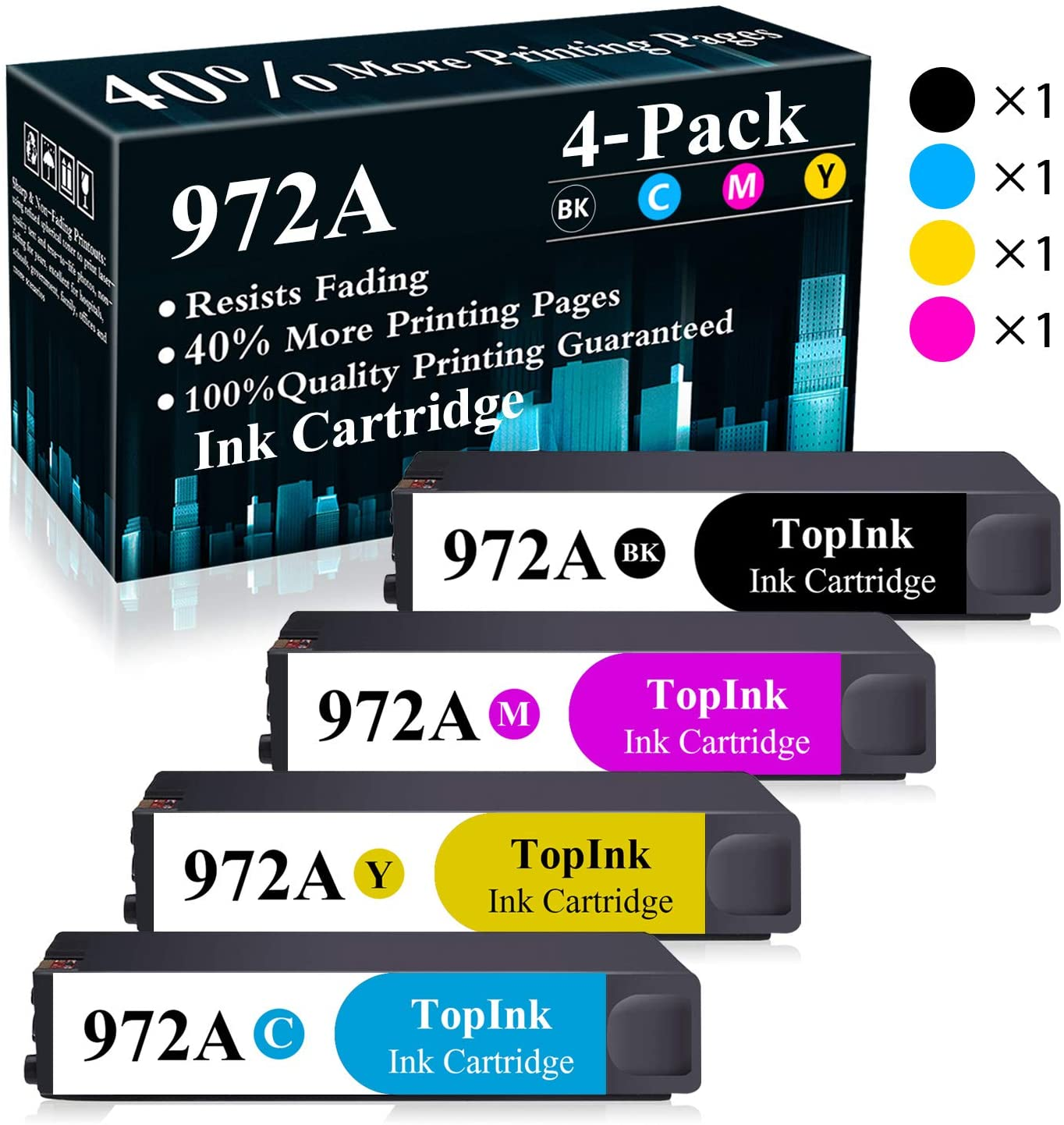 4-Pack (BK/C/M/Y) 972A Black,Cyan,Yellow,Magenta Remanufactured Ink Cartridge Replacement for HP PageWide Pro 452dn 452dw 552dw 477dn 477dw 577dw MFP P57750DW MFP P55250DW Printer,Sold by TopInk