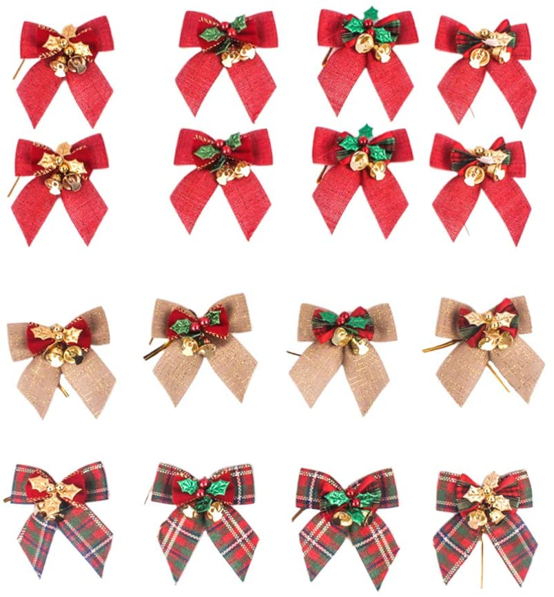 LIOOBO 16Pcs Christmas Tree Bows Pendant Gift Wrap Bows Xmas Tree Ornaments Presents Packing Party Decor (Random Pattern)