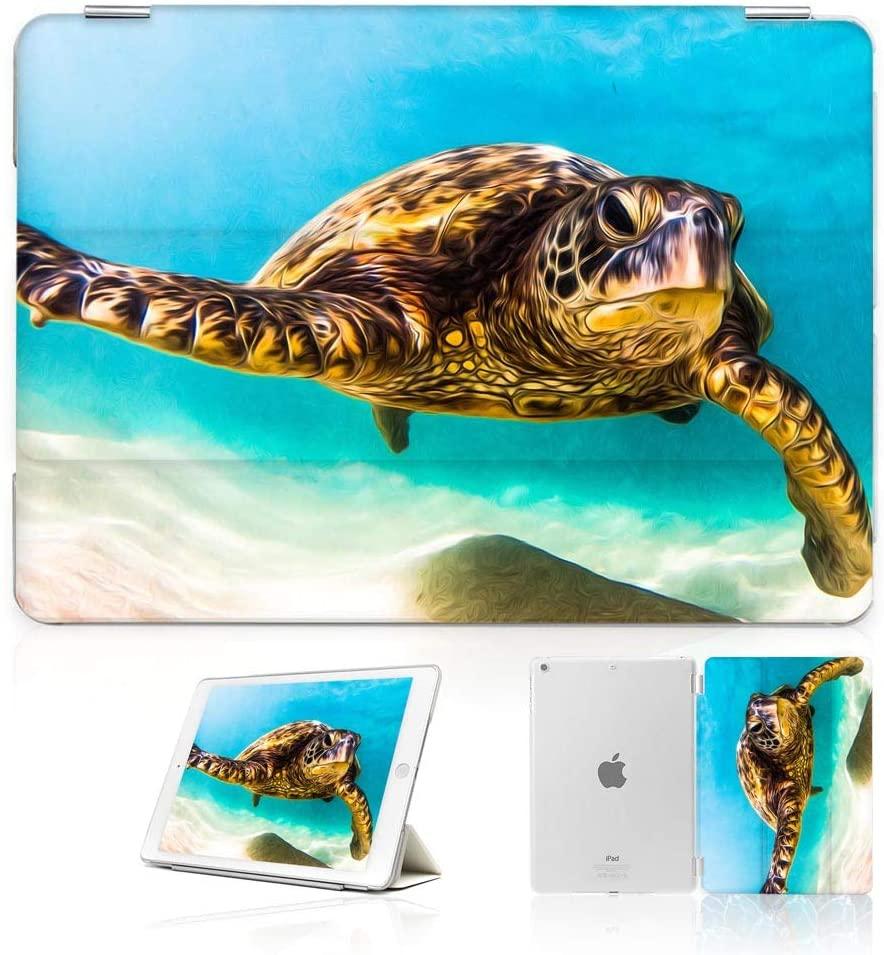 for iPad 5 5th Generaton, iPad 6 6th Generation, iPad 9.7 inch 2017 2018 Version, Designed Smart Case Cover, SMART40033 Blue Sea Turtle 40033