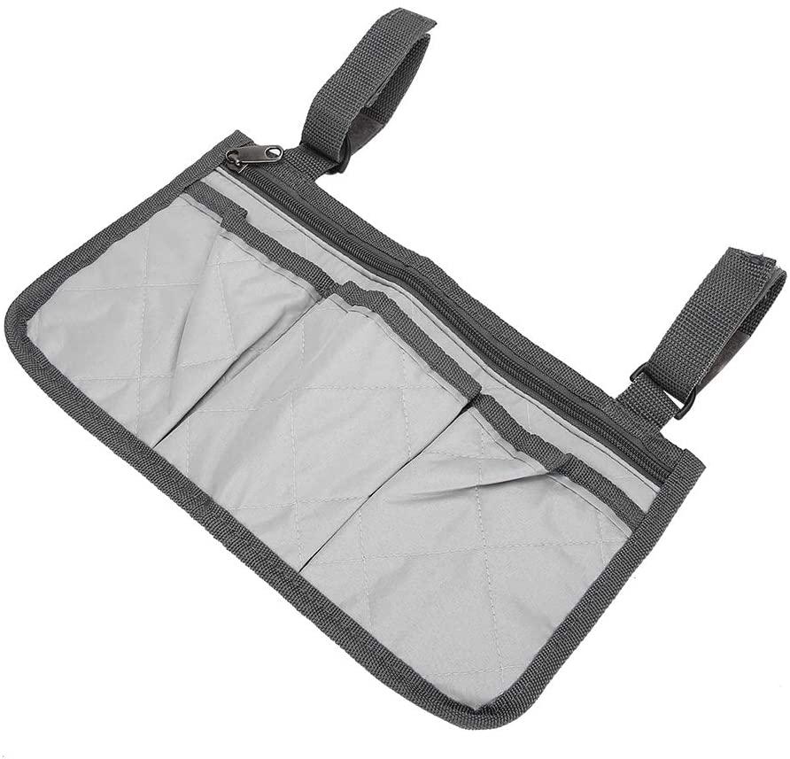 Durable Wheelchair Pouch Wheelchair Bag Practical Old Men Senior(Gray)
