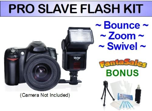 Digital Pro Slave Flash for the Sony Alpha A33, A55, A58, A290, A330, A390, A230 Digital SLRs. UltraPro BONUS BUNDLE Included: Mini Travel Tripod, LCD Screen Protector, Camera Cleaning Package