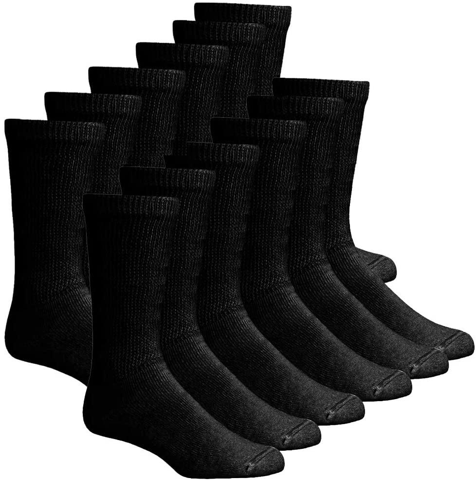 6 12 Pairs Men's Circulatory Diabetic Crew Socks Size 9-11 10-13 13-15 (Black(12-Pairs), 9-11)