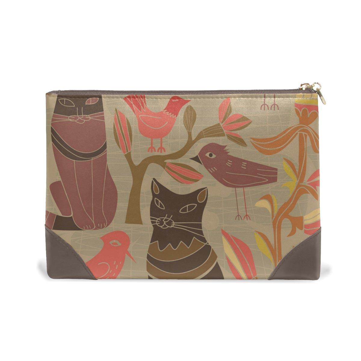 Women Makeup Bag Birds Cat Genuine Leather Zipper Cosmetics Pouch Lady Toiletry Bag