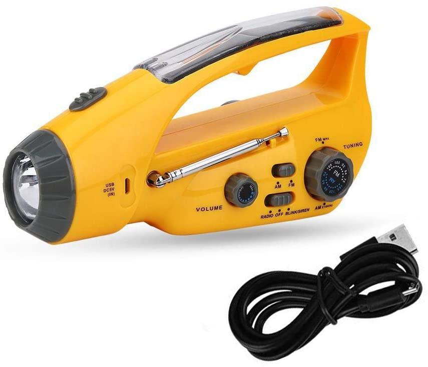 V GEBY Emergency Solar Hand Crank AM/FM Radio Portable Radio with LED Flashlight Cell Phone Charger USB Adapter