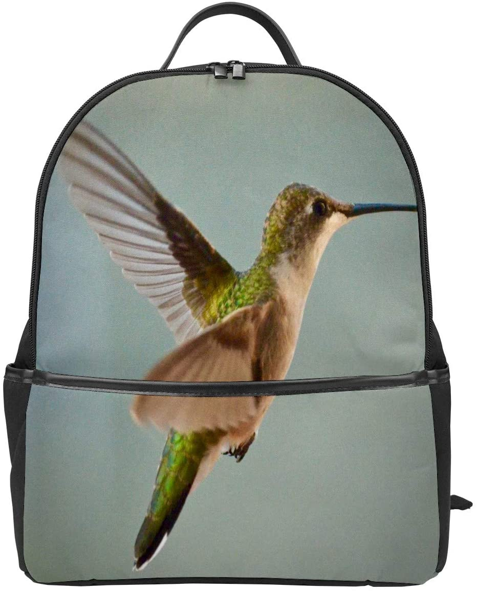 Green and Brown Hummingbird Leather School Backpack Bookbags with Adjustable Straps, Large Capacity and Waterproof Travel Bag, Stylish Design Backpack for Women, Men, Students
