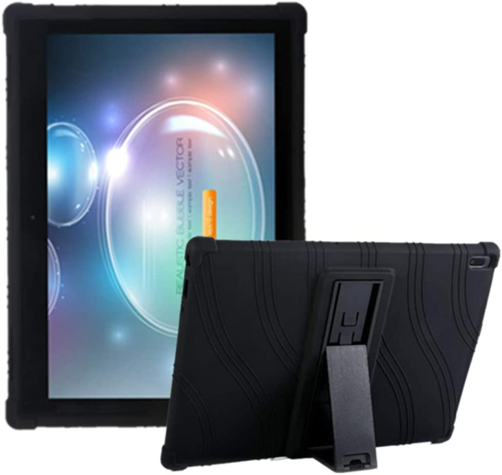 Lenovo Tab 4 10 Plus Case, Ultra Slim Soft Silicone Rugged Back [Kids Friendly] [Anti Slip] ShockProof Protective Stand Cover for Lenovo Tab 4 10 Android Tablet 2017 Release ZA2T0000US (Black)