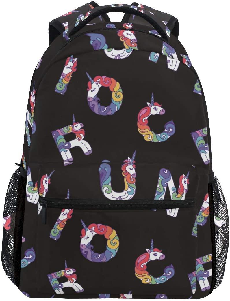 Unicorn Alphabet Backpack School Bag Travel Daypack Rucksack for Students
