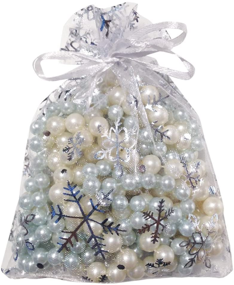 Outdoorfly 100Pcs 4X6 Christmas Organza Bag with Drawstring Snowflake Jewelry Favor Pouches Gift Bags(Snowflake 4x6)