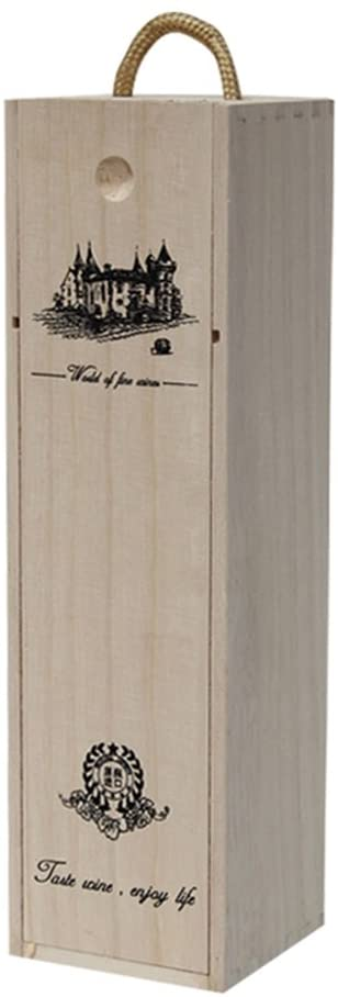 Wine Gift Box 1 Bottle Wood Engraved with Lid Handle Alcohol Liquor Spirits High-end Wraps for Christmas Wedding Dinner (E Single)
