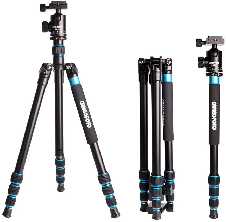 "CAMBOFOTO Professional Camera Tripod 63.77""/162cm Lightweight Tripod/Monopod(167cm) – Aluminum Tripod Portable Travel Tripod with 360 Degree Metal Ball Head for Canon/Nikon/Sony DSLR/SLR Camera"