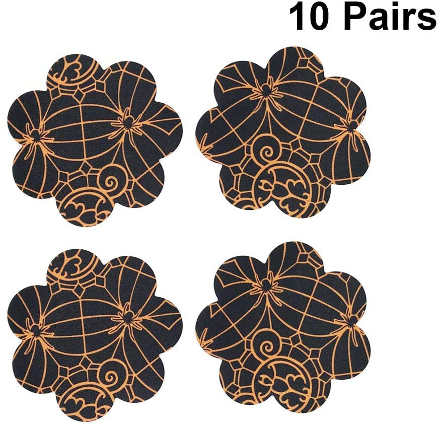 PRETYZOOM 10 Pairs Halloween Sexy Disposable Pasties Nipple Cover Spiderweb Bat Printing Breast Cover for Women Free Size (Flower) Party Favor