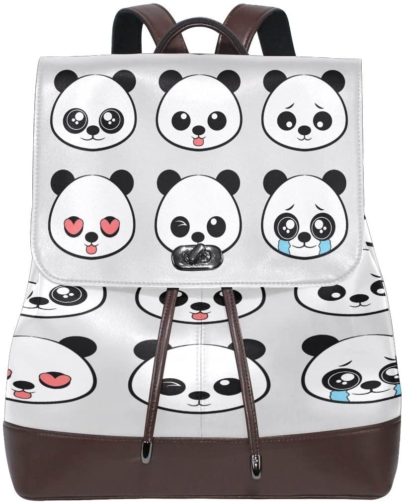 Women Genuine Leather Backpack Cute Panda Lady Travel Shoulders Bag Girl Schoolbag