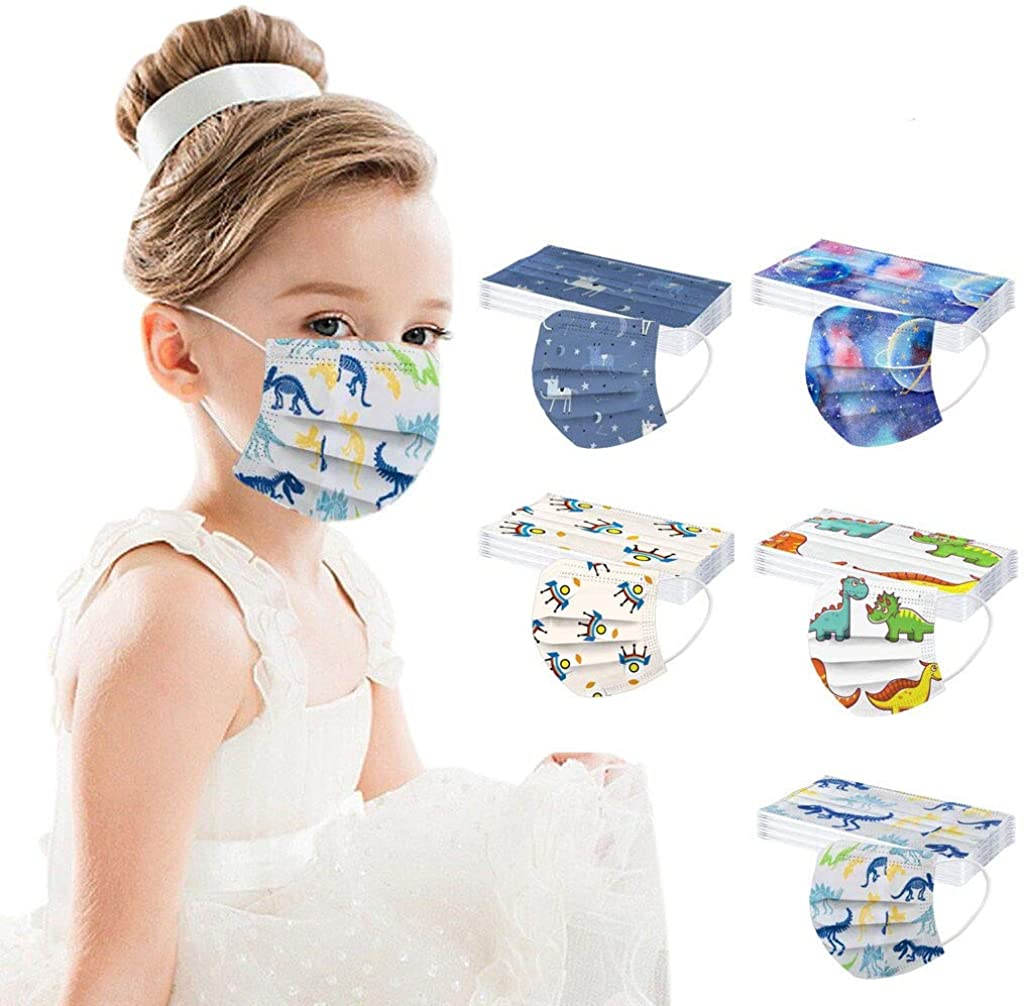 AIHOU Kids Disposable Face Mask 50PCS Cute 3 Ply Earloop Breathable Protective Cloth Mask Childrens Face Masks School Outdoor