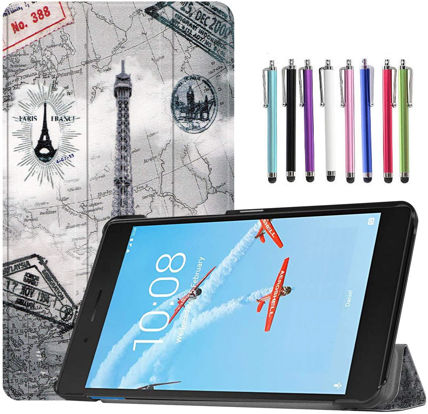 Epicgadget Case for Lenovo Tab E8 (TB-8304F), Slim Lightweight Tri fold Stand Cover Case for Lenovo Tablet 2018 Tab E 8 8 Inch Display (Eiffel Tower)