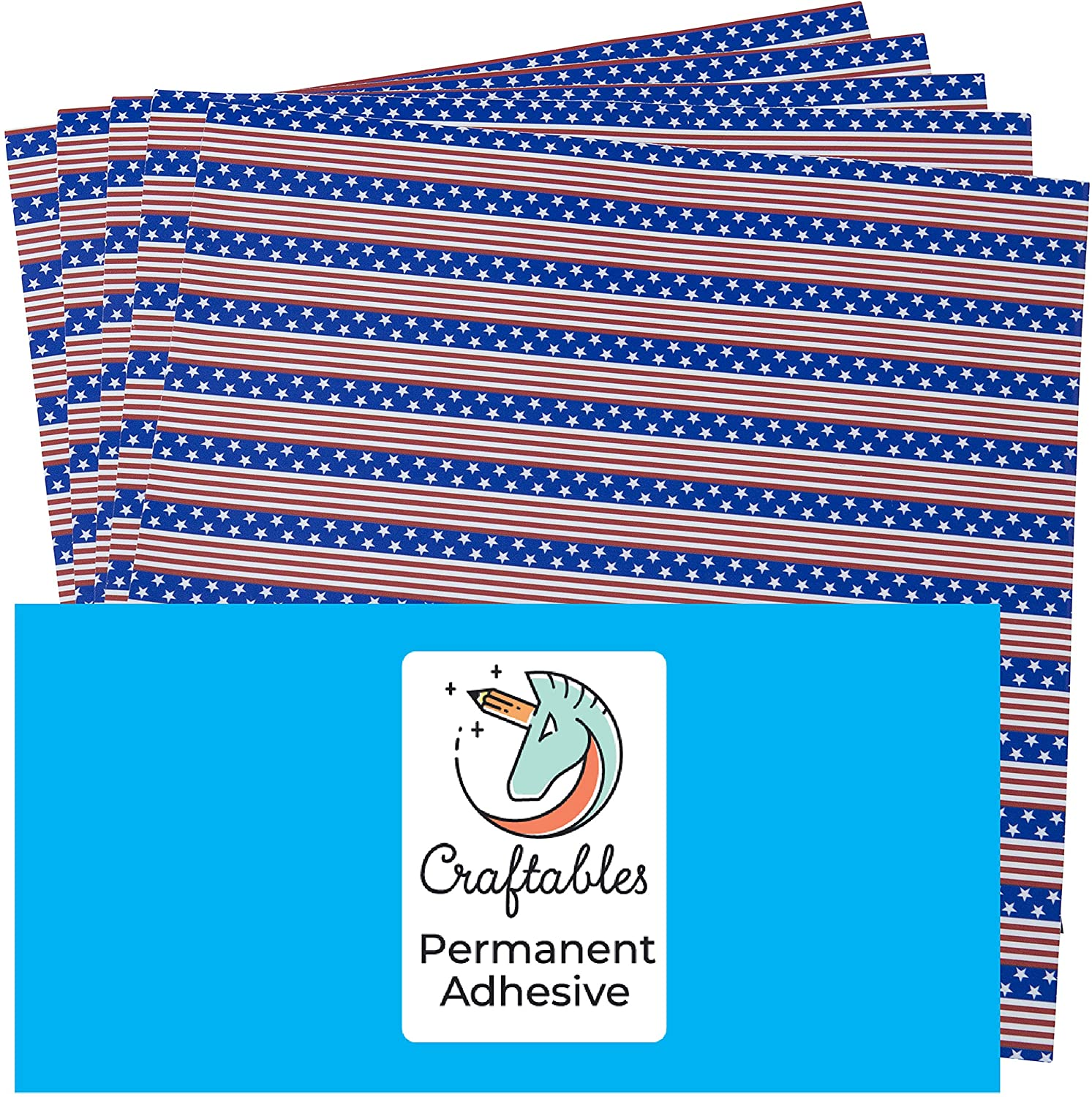American Flag Pattern Self Adhesive Craft Vinyl Printed Sheets for Cricut, Silhouette, Cameo, Decals, Signs, Stickers by Craftables