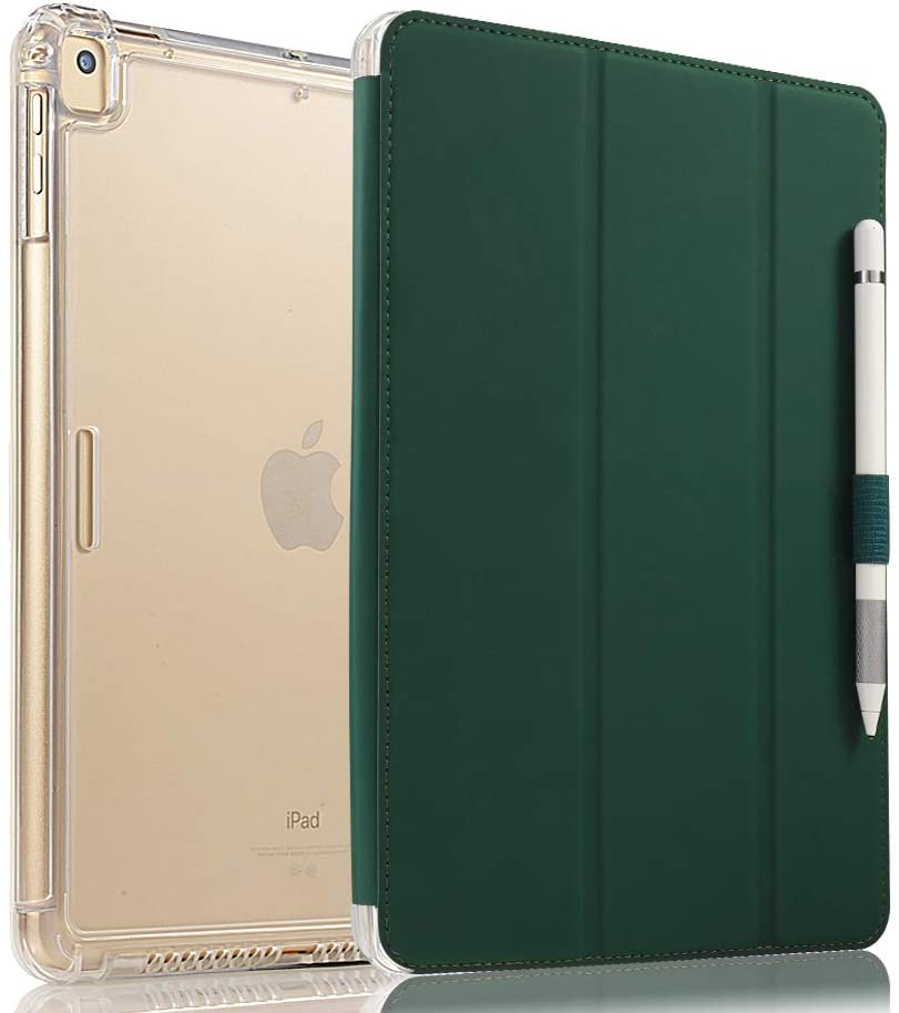 Valkit iPad 6th/5th Generation Case, iPad 9.7 Inch Case 2018/2017, iPad Air Case, iPad Air 2 Case - Smart Folio Stand Protective Translucent Frosted Back Cover with Auto Wake/Sleep, Dark Green