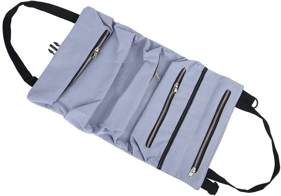 Liukouu Tool Roll,Multifunction Canvas Hanging Portable Outdoor Canvas Tool Roll Up Bag Garden Tool Storage Bag Multi-Purpose Tool Roll Up Bag Wrench Roll Pouch