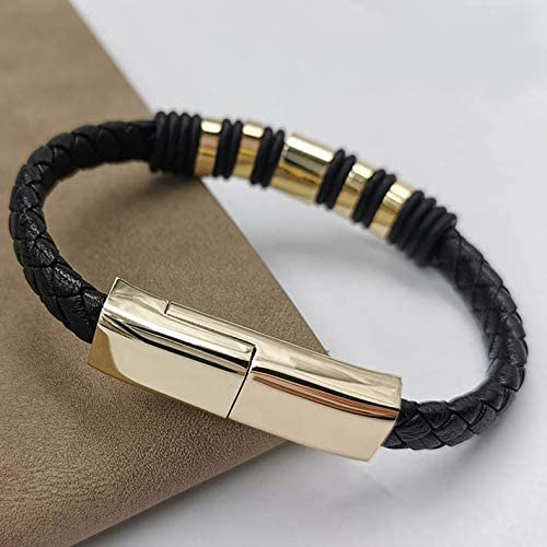USB Charging Leather Bracelet Cable Upgraded (Large 8.8 inch, Gold Micro USB)
