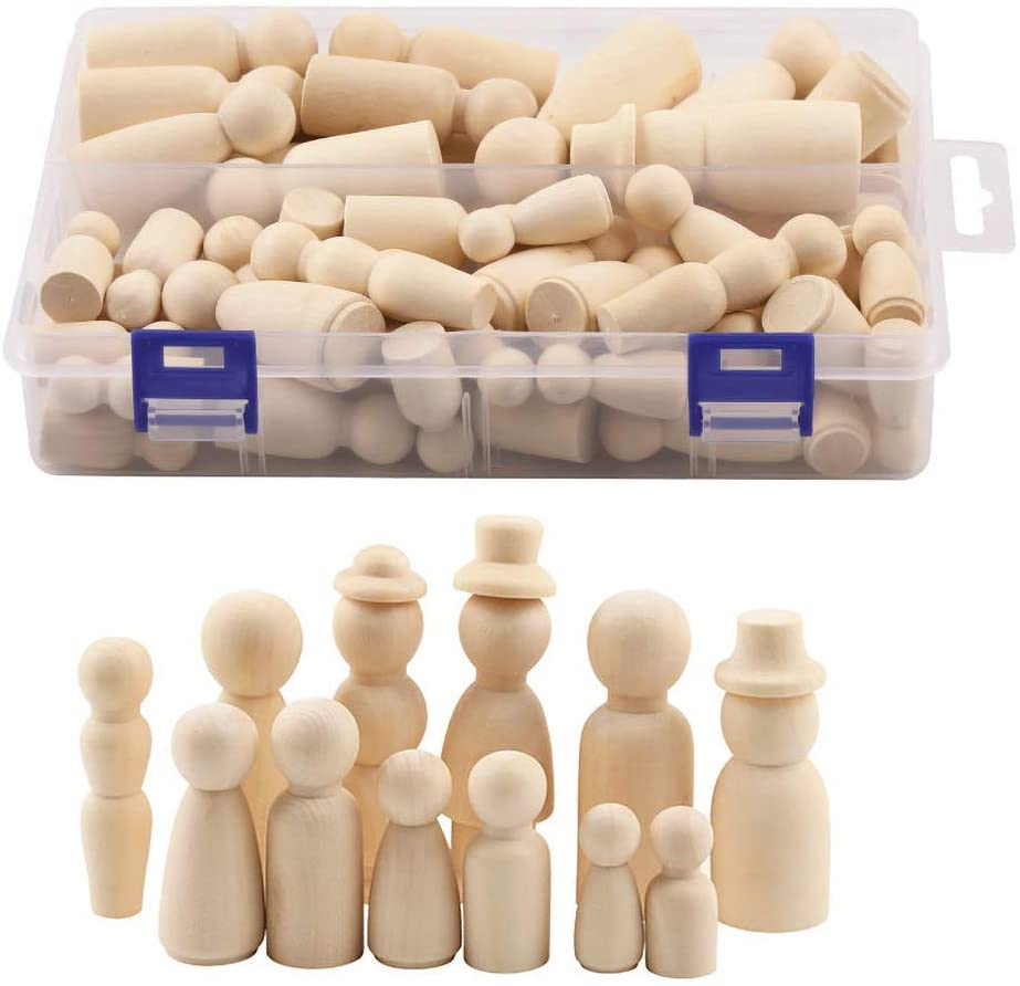 Wooden Peg Dolls Unfinished People – Pack of 55 with Storage Case in Assorted Sizes - Natural Wood Shapes Figures, Decorative Doll Bodies for DIY Arts and Crafts