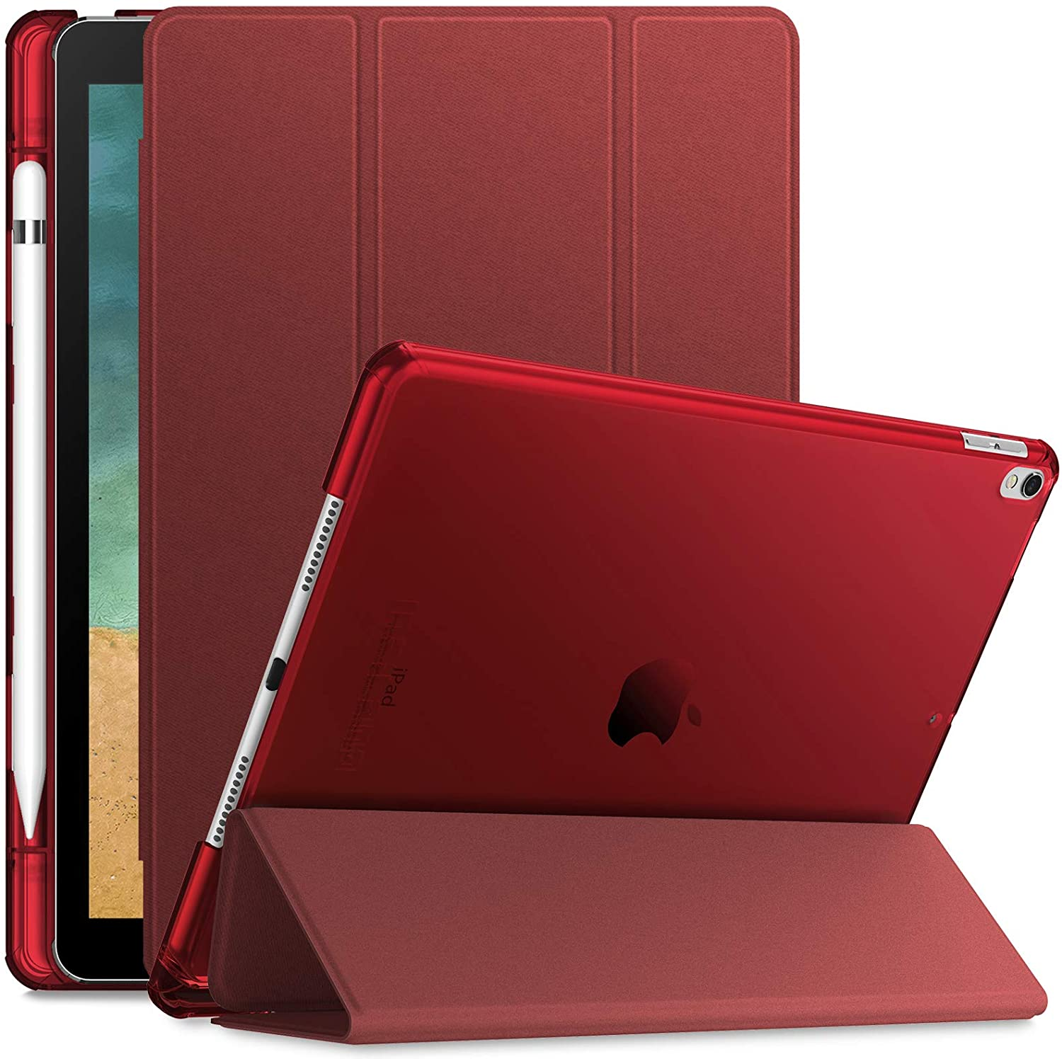 INFILAND Case for iPad Air 3rd Generation 2019 / iPad Pro 10.5 2017, Translucent Frosted Back Smart Cover Case with Apple Pencil Holder,Wine Red
