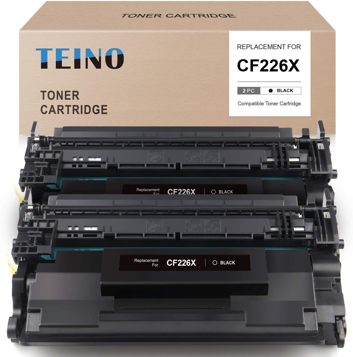 TEINO Compatible Toner Cartridge Replacement for HP 26X CF226X 26A CF226A use with HP Laserjet Pro MFP M426fdw M426fdn M426dw Laserjet Pro M402dw M402dne M402d M402d M402n (Black, 2-Pack)