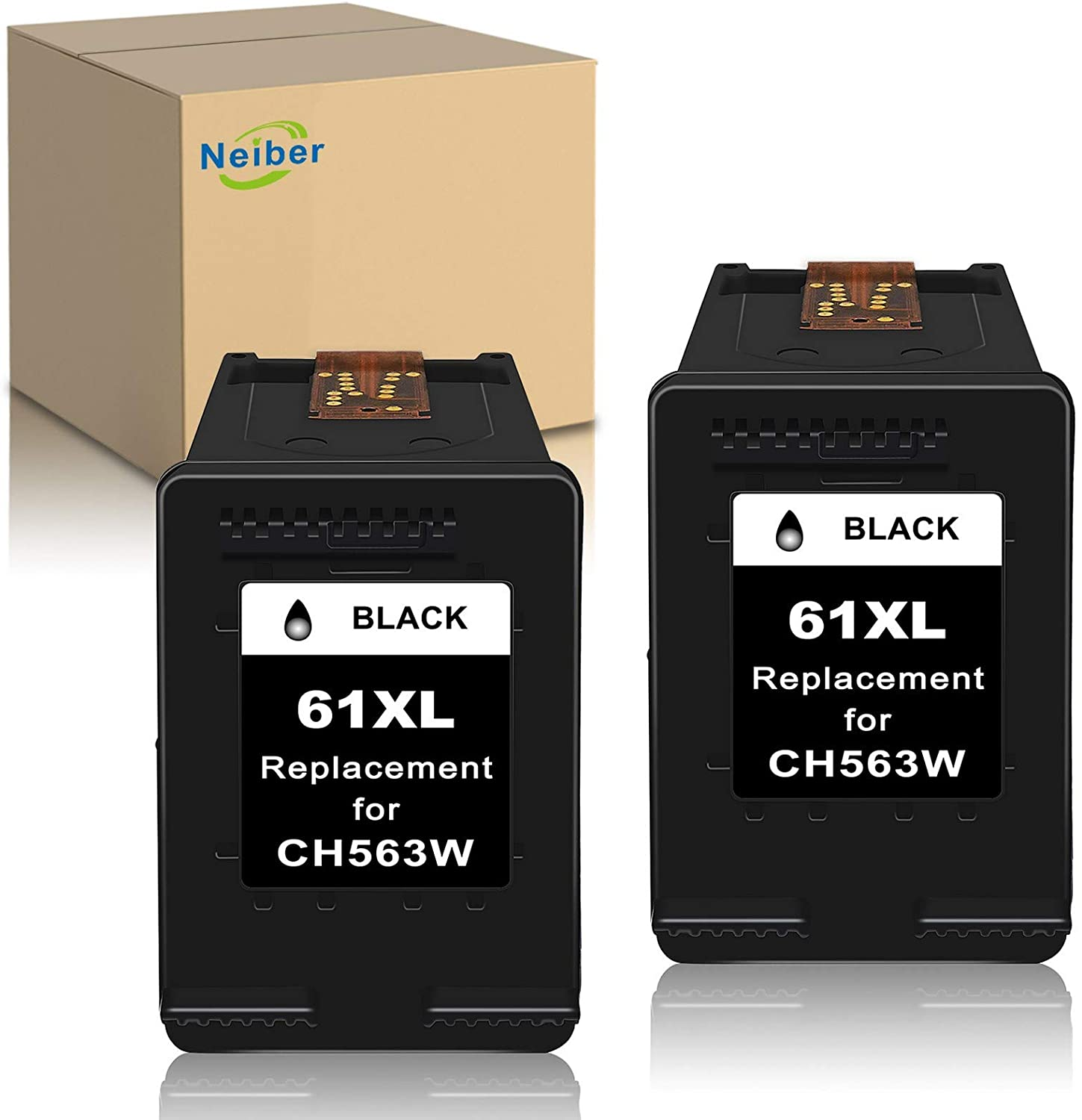 Neiber Remanufactured Ink Cartridge Replacement for HP 61XL 61 XL (Black 2-Pack) Work with Envy 4500 4502 5530 DeskJet 2512 1512 2542 2540 2544 3000 3052a 1055 3051a 2548 OfficeJet 4630 Printer