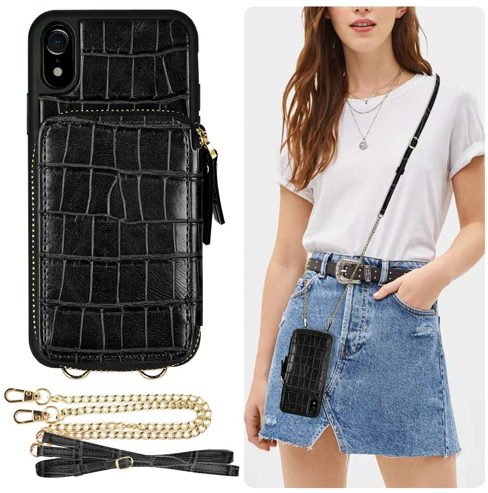 iPhone XR Wallet Case, ZVE iPhone XR Case with Credit Card Holder Slot Crossbody Chain Strap Shockproof Protective Zipper Crocodile Grain Leather Case Cover for Apple iPhone XR, 6.1 inch - Black