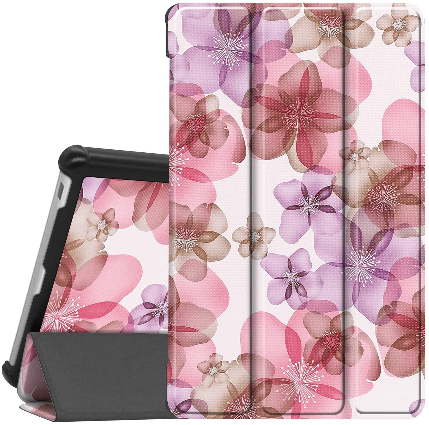 Gylint Lenovo Tab M8 Case, Smart Case Trifold Stand Slim Lightweight Case Cover for Lenovo Tab M8 FHD TB-8705F / TB-8705N / TB-8505F / TB-8505X Tablet Flower